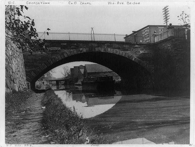 C&O Canal and Wisconsin Avenue Bridge, Georgetown circa 1920 (Library of Congress)