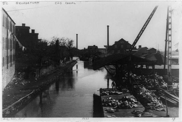C&O Canal from Wisconsin Avenue Bridge, Georgetown circa 1920 (Library of Congress)