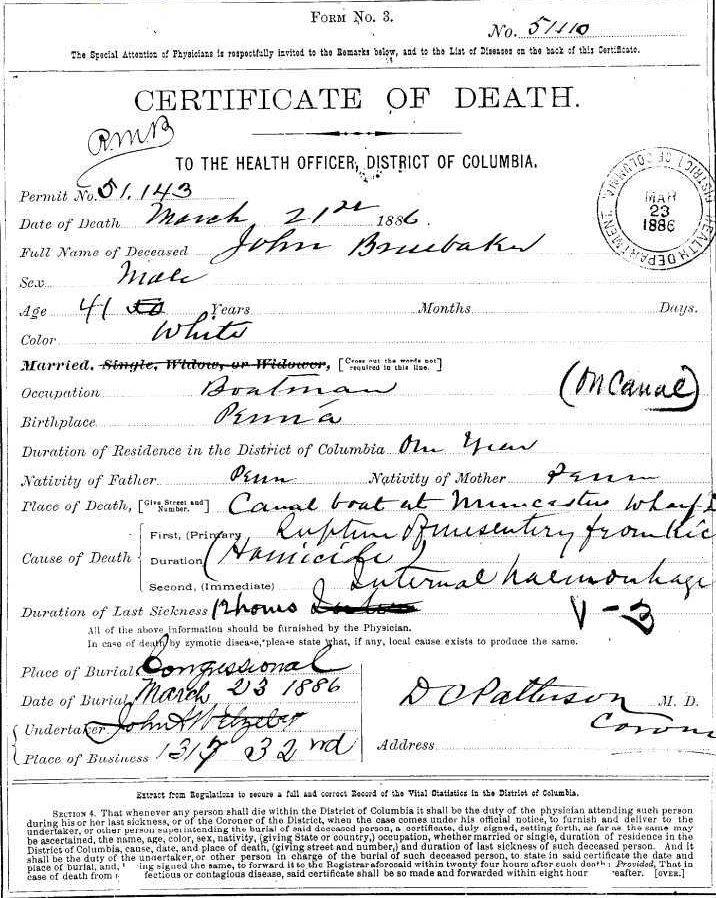 John Bruebaker's death certificate (Congressional Cemetery)